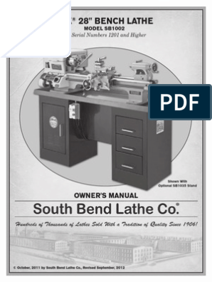 South Bend SB1002 Lathe Owners Manual | Mains Electricity