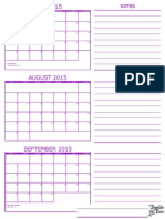 3 Month Calendar July August September 2015 Purple New