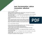 Perbedaan Termometer Raksa Dan Termometer Alkohol