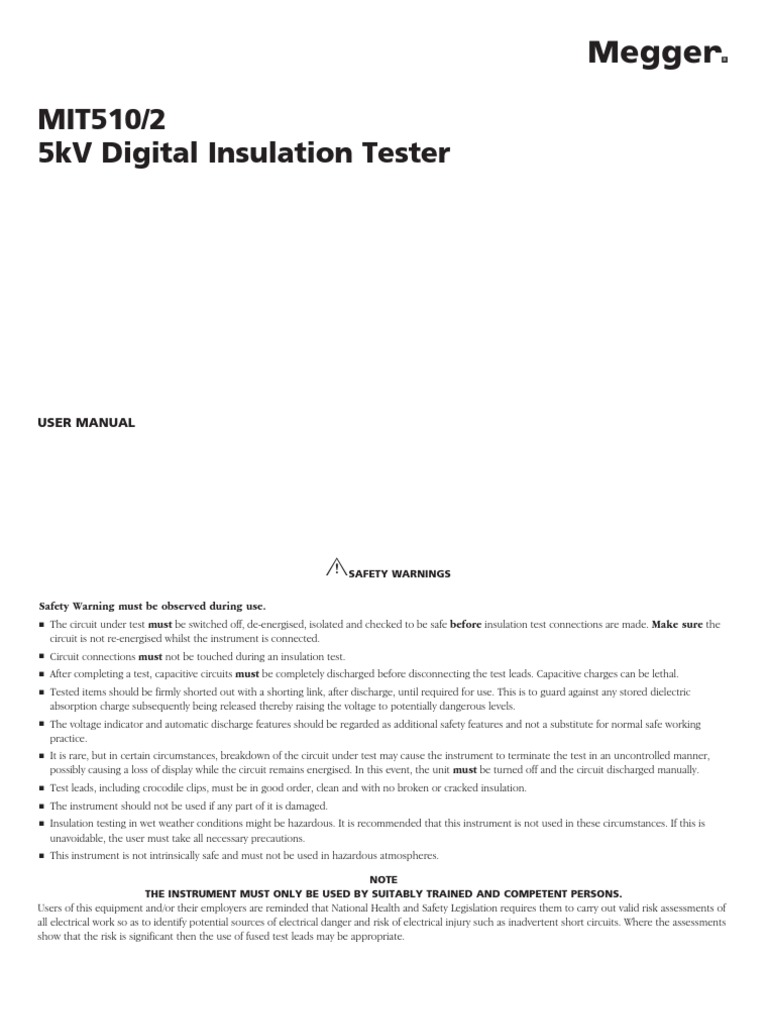 Mit510 2 Ug En V10 5 Kv Megger Ac Power Plugs And Sockets Insulation Tester Constant 5kv Capacitor
