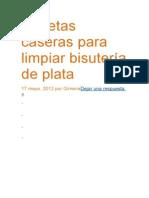 Recetas Caseras Para Limpiar Bisutería de Plata