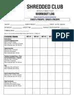 Shredded Club Workout Log