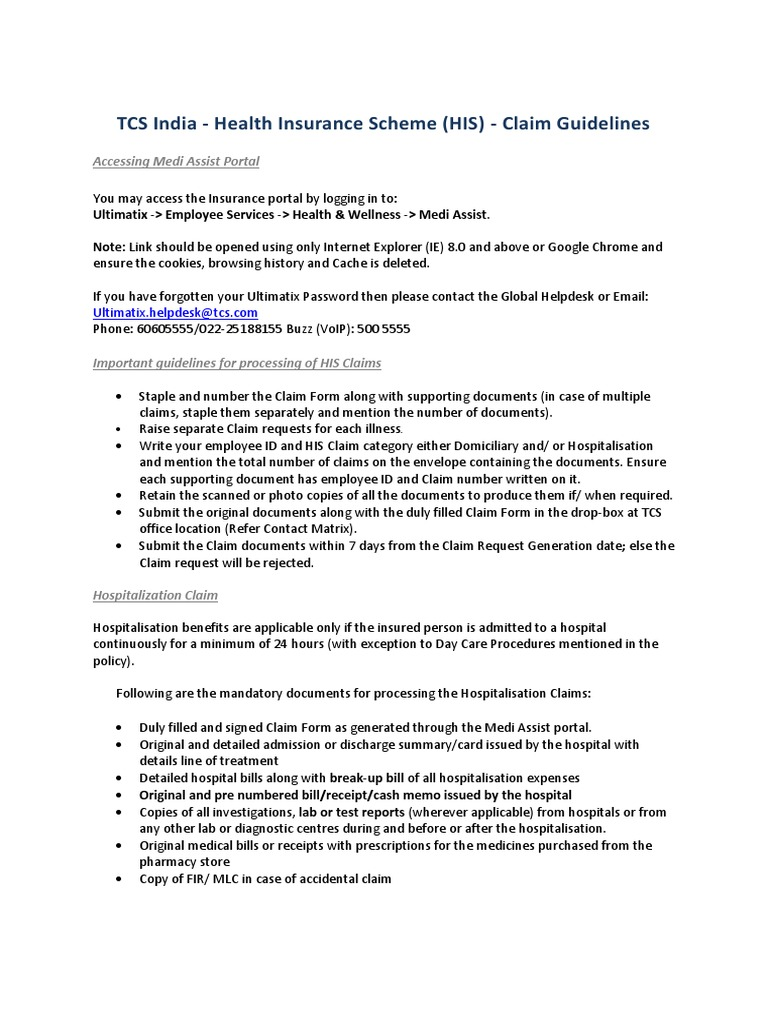 Feb15 Unit Tcsindiaclaimguideline | Medical Prescription