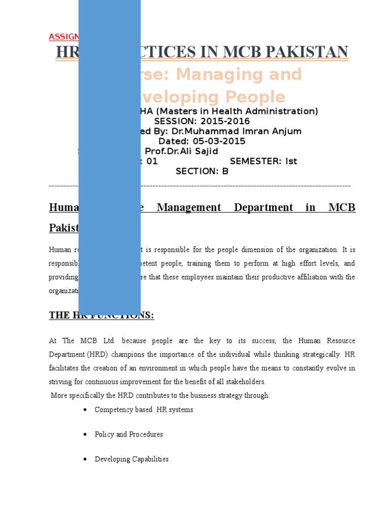 Human resource management department in mcb pakistan human resource management compensation and benefits
