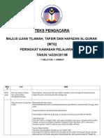Teks Pengacara Majlis Tilawah Al-quran Peringkat Kawasan Pelajaran Paya