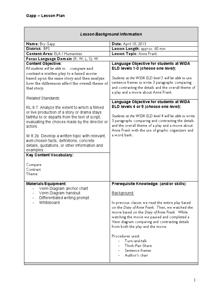Thesis Statement Examples For Argumentative Essays  Model Essay English also Topics For Argumentative Essays For High School Anne Frank Comparecontrast Lesson Plan  Lesson Plan  Education Theory Legal Brief Writing Services