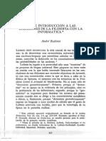 Breve introducción a las relaciones entre filosofía e informática