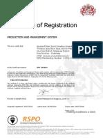 Certificate RSPO AMANAH Production & Management System 26 Sept 2014