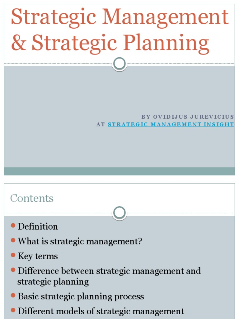 strategic management   strategic planning   strategic management