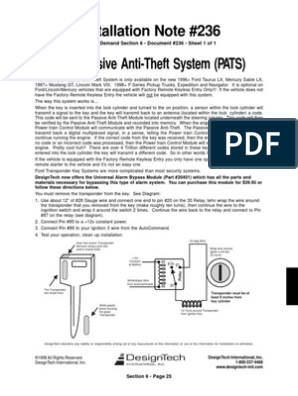Ford_PATS_Bypass.pdf | Lincoln Motor Company | Ford Motor Company pats module location Scribd