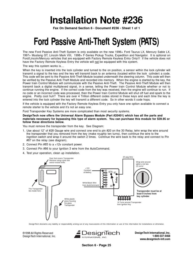 2001 Windstar Theft Control Diagram Trusted Wiring Ford Se Fuse Pats Bypass Pdf Motor Company Ignition System Lx Green