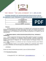 Posibilidades de Intervención Educativa en El Alumnado Que Presenta Discapacidad Intelectual