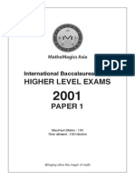 Ib Higher Level Maths (2001) Paper 1