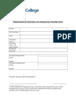 Department of Chemistry UG Programme Transfer Form