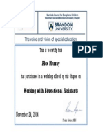 Alex Murray Workshop Certificate EAs F14