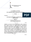 Ley Para El Desarme y Control de Armas y Municiones