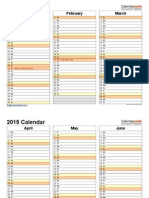 2015 Calendar Landscape 4 Pages