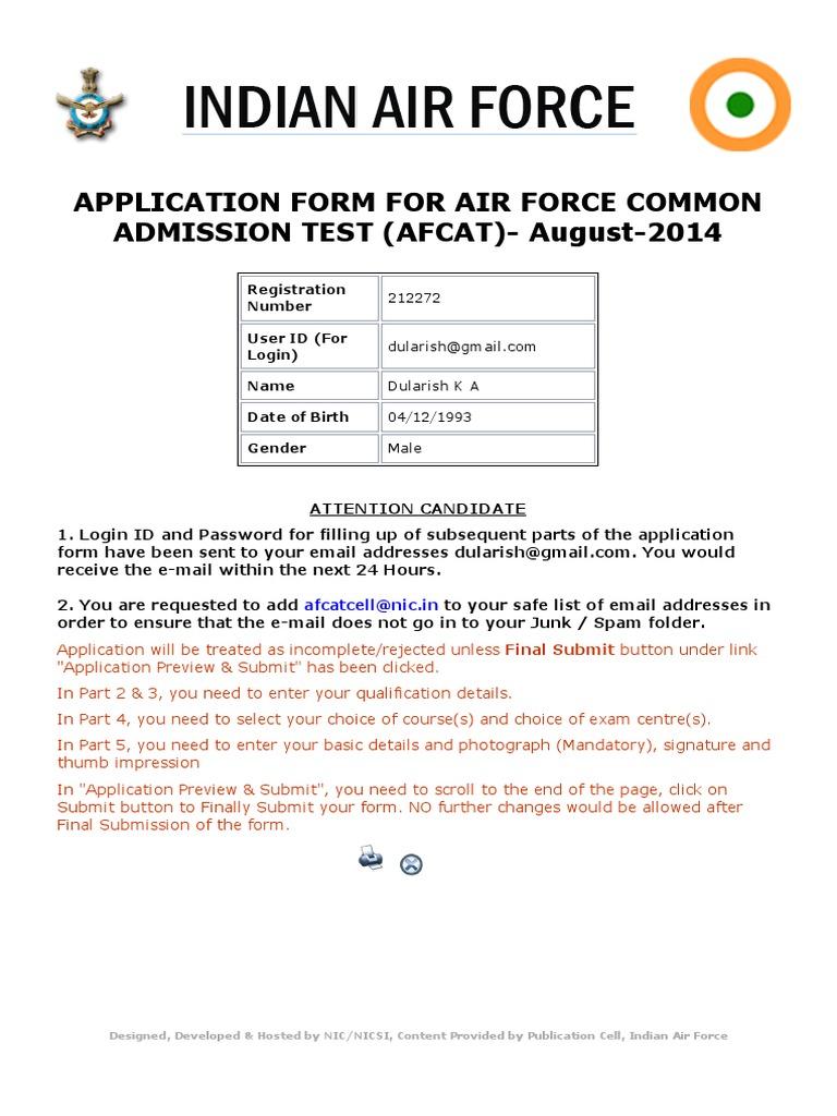 Air Force Registration Form