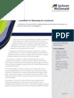 201204 Condition vs Warranty in a Contract