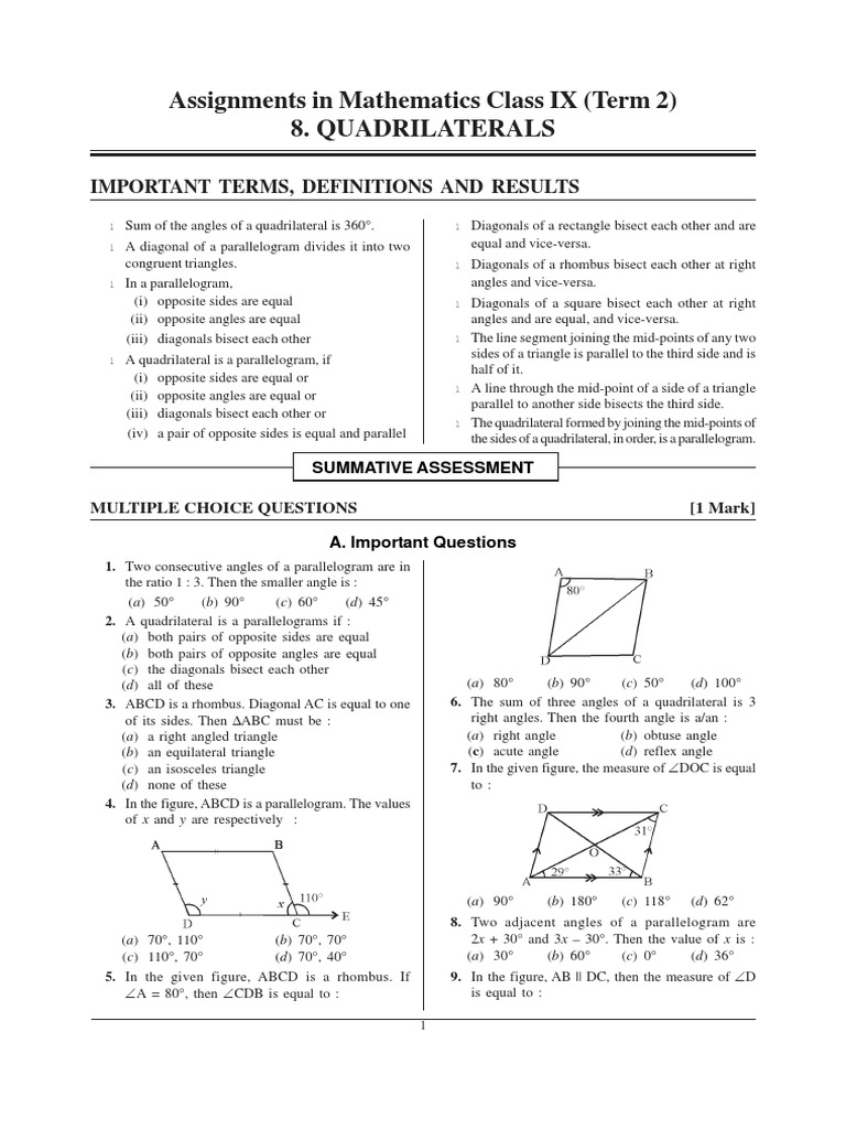 Question Banks Quadrilateral Iind Term Ch02 Rectangle Elementary Geometry  Maths How To Find Area Of Any