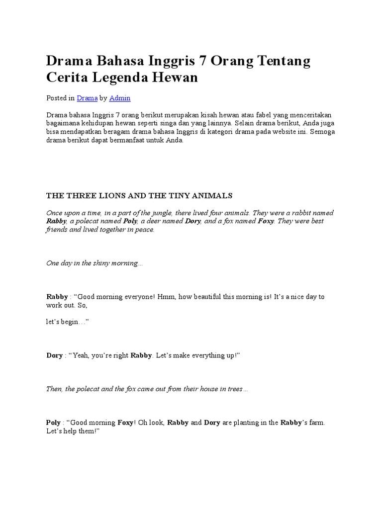Drama Bahasa Inggris 7 Orang Tentang Cerita Legenda Hewan Docx