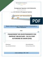Financement des investissements par emprunt obligataire - Cas du Port Autonome de Dakar (PAD)