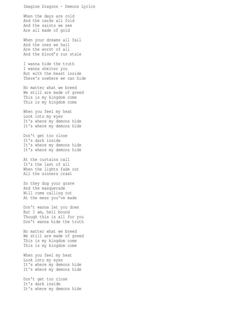 Fastest Angels Among Demons Lyrics