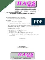 Informe Técnico Del Sistema de Frenos