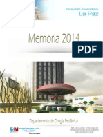 Memoria del Departamento de Cirugía Pediátrica de 2014