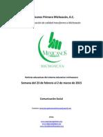 Noticias del Sistema Educativo Michoacano al 02.03.2015