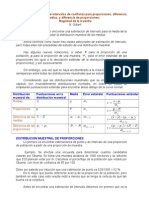 Estimación de intervalos de confianza para proporciones, diferencia de medias, y diferencia de proporciones; Magnitud de la muestra