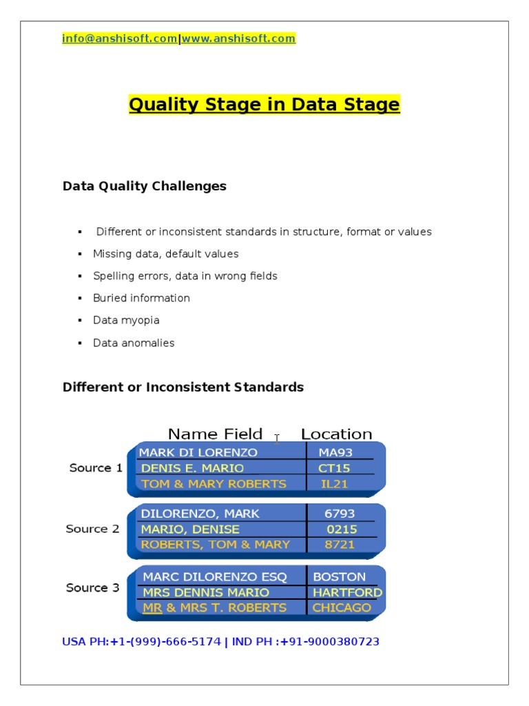 Quality stage in data stage statistical classification parsing baditri Images