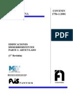 Covenin 1756-1-2001 Edificaciones Sismorresistentes