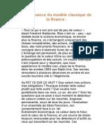 La Naissance Du Modèle Classique de La Finance