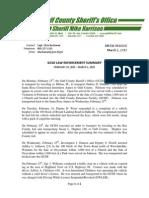 GCSO LAW ENFORCEMENT SUMMARY  FEBRUARY 23, 2015 – MARCH 1, 2015