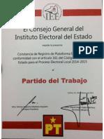 Constancia de Registro de Plataforma Electoral