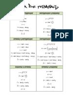 Tablas de Formulas Transformacion de Coordenadas