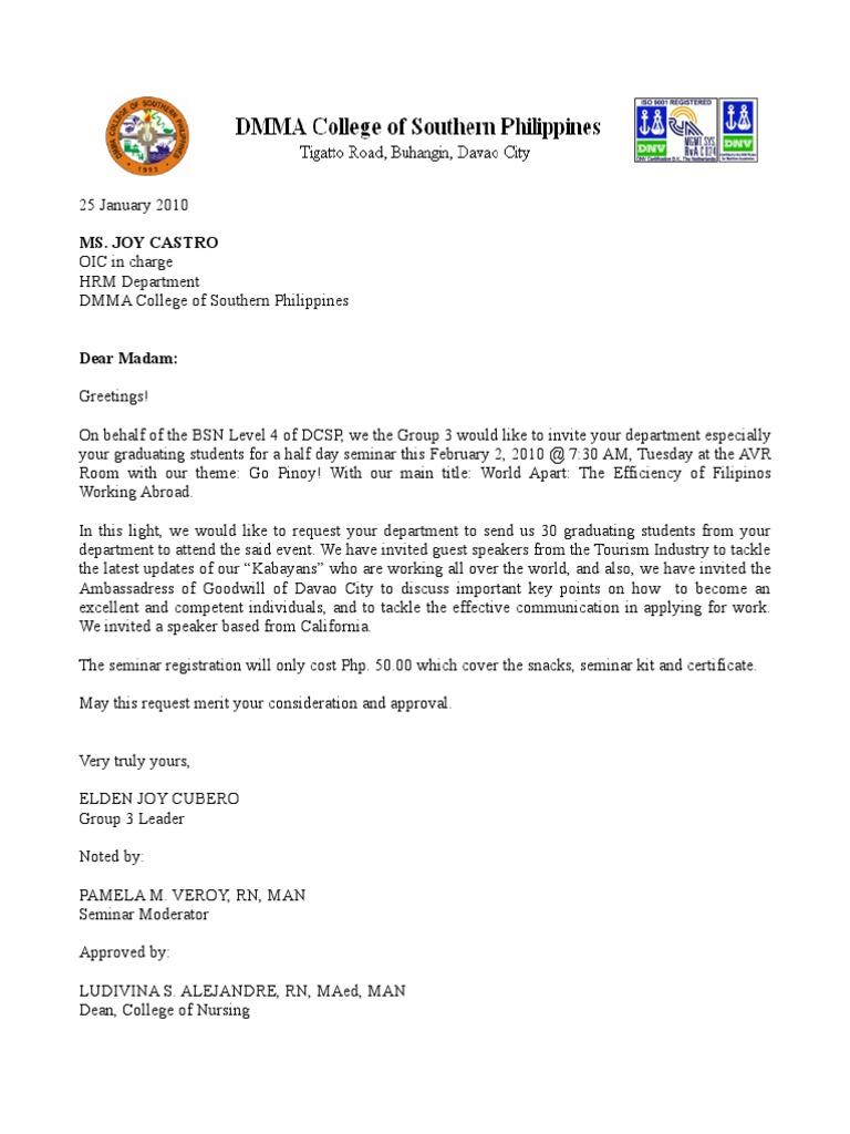 Letter of invitation-Seminar in Nursing   Health Care ...