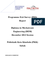 Programme Exit Survey (PES) DIS 2013 Session (DEM)