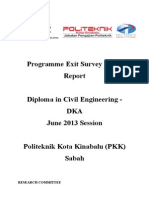 Programme Exit Survey (PES) JUNE 2013 Session (DKA)