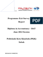 Programme Exit Survey (PES) JUNE 2013 Session (DAT) V1