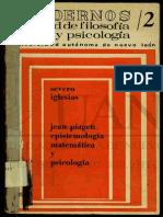 Jean Piaget Epistemologia y Psicología Matemática Severo Iglesias