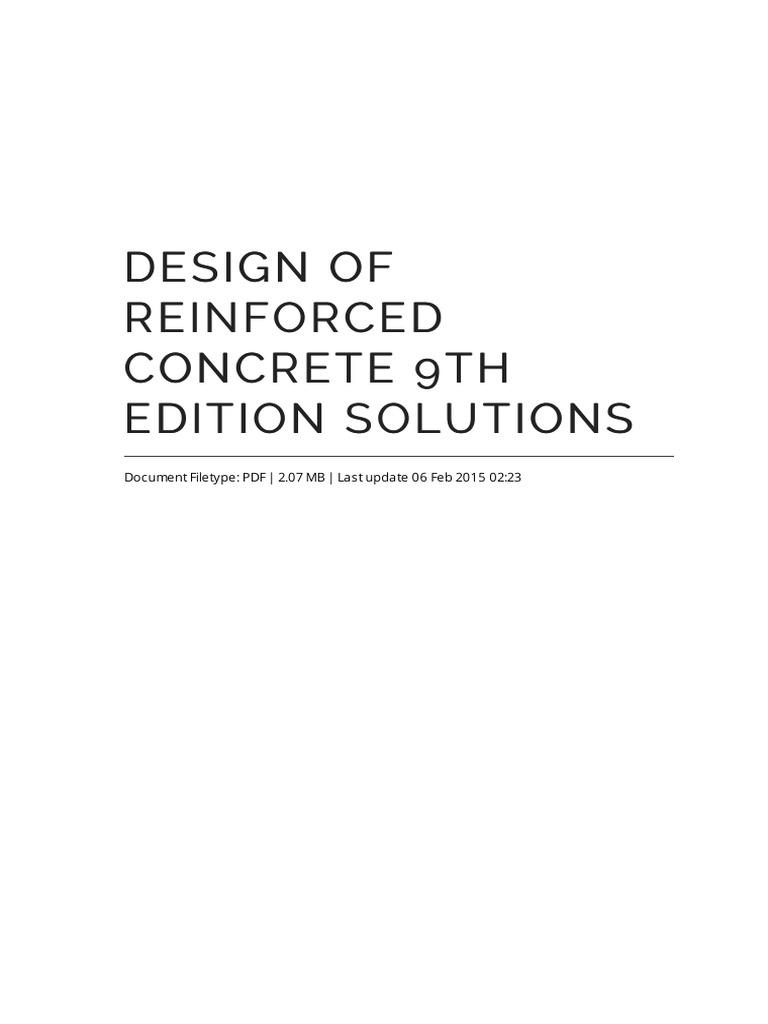 design of reinforced concrete 9th edition solutions rh scribd com