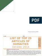 Top 25 Articles of Humanities