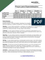 Tabela de Preços Para Especializações