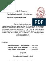 GENERACIÓN DE ENERGÍA A PARTIR DE UN CICLO COMBINADO DE GAS Y VAPOR EN UNA FINCA RURAL, USANDO BIOGÁS COMO COMBUSTIBLE