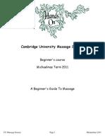 MassageSoc Beginners Course Handout Michaelmas 2011