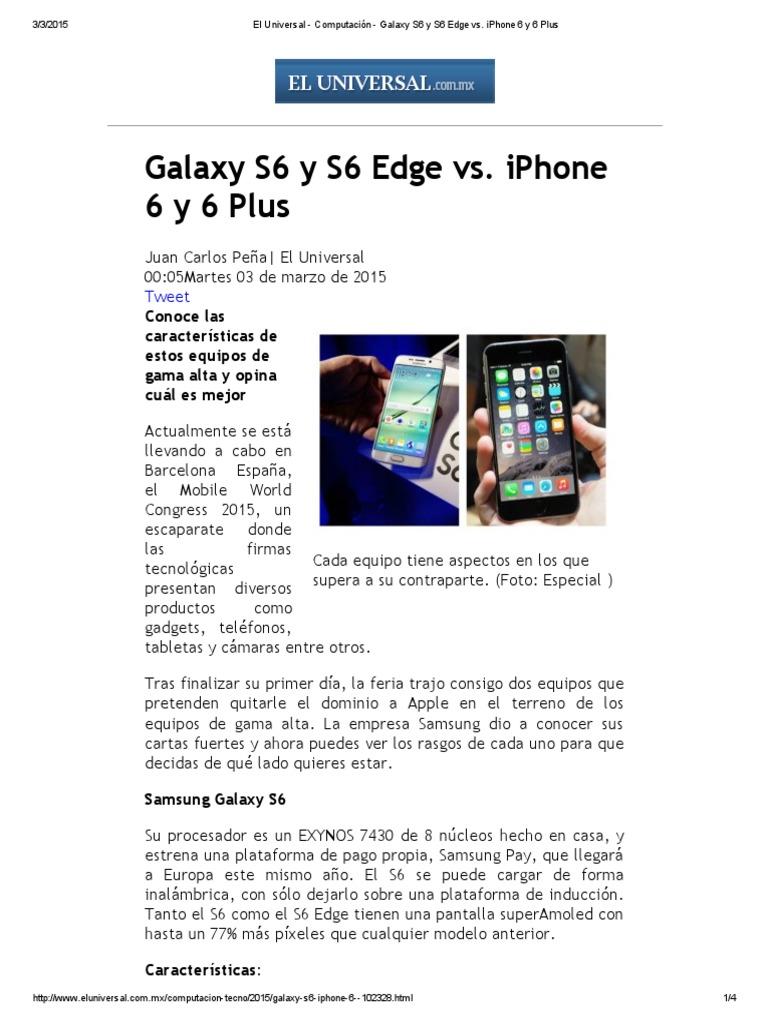 8a958ec0c9a Galaxy S6 y S6 Edge vs iPhone 6