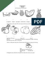 Fruits Worksheet3rd Grade