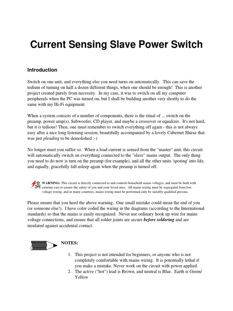 Current Sensing Slave Power Switchpdf Relay Mains Electricity Computer Switch Wiring Diagram
